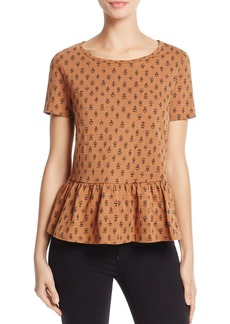 FRENCH CONNECTION Rossine Printed Peplum Tee