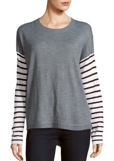 French Connection Roundneck Striped Sleeve Sweater