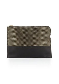 French Connection Ryan Metallic Faux-Leather Clutch Bag