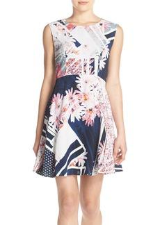 French Connection 'Samba Avenue Drape' Print Fit & Flare Dress