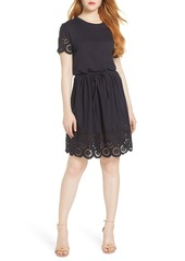 French Connection Santoline Cotton Eyelet Jersey Fit & Flare Dress