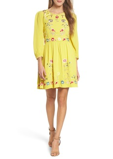 French Connection Saya Embroidered Crepe Fit & Flare Dress