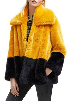 French Connection Sebille Colorblock Faux Fur Jacket