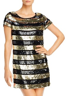 French Connection Sequin Striped Mini Dress