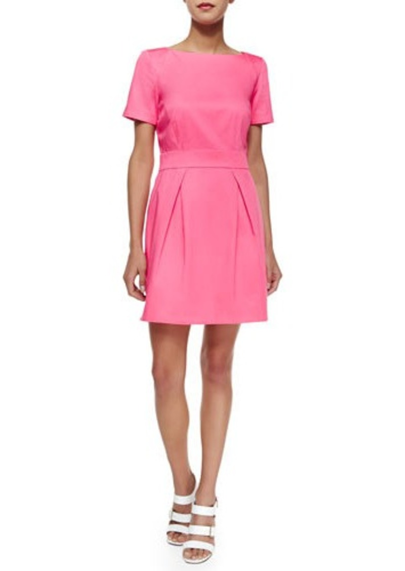 French Connection Short-Sleeve Pleated Sateen Dress