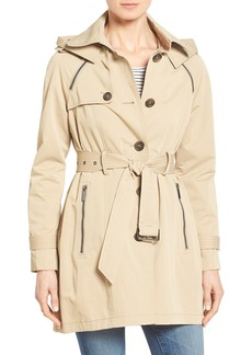 French Connection Single Breasted Skirted Trench Coat with Removable Hood