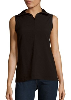 French Connection Sleeveless Zip-Front T-Shirt