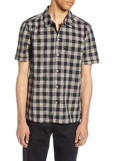 French Connection Slim Fit Gingham Check Short Sleeve Button-Up Sport Shirt