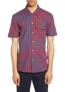 French Connection Slim Fit Mélange Gingham Short Sleeve Button-Up Sport Shirt