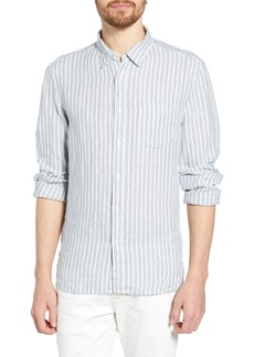 French Connection Slub Stripe Slim Fit Linen Shirt