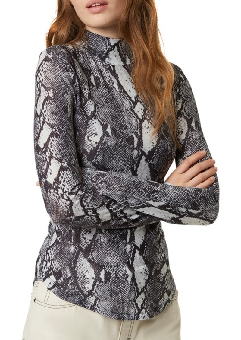 French Connection Snake Print Turtleneck Top
