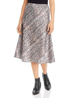 FRENCH CONNECTION Snakeskin-Print A-Line Midi Skirt