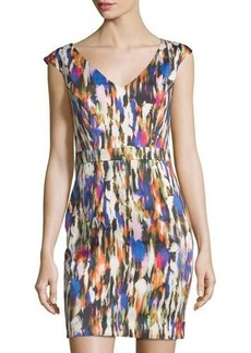 French Connection Streak-Print Sleeveless Sheath Dress