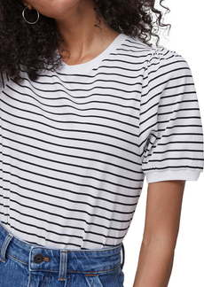 French Connection Stripe Puff Sleeve Cotton Top