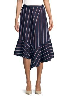 French Connection Striped Wraparound Cotton Skirt