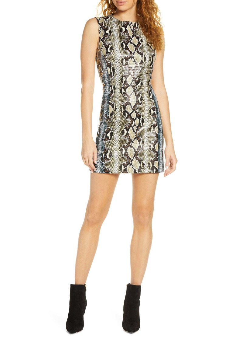 French Connection Sundae Snake Embossed Faux Leather Minidress