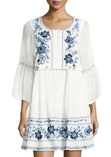 French Connection Sunshine Bloom Long-Sleeve Gypsy Dress