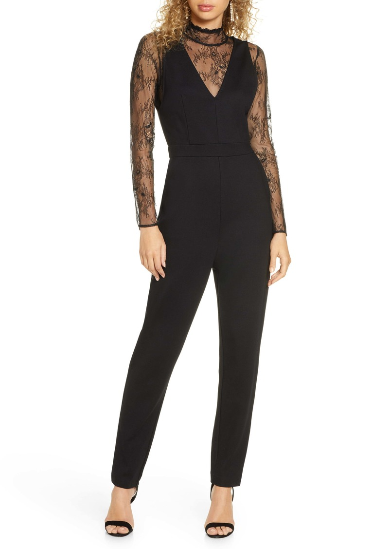 French Connection Tabetha Lula Long Sleeve Lace & Jersey Jumpsuit