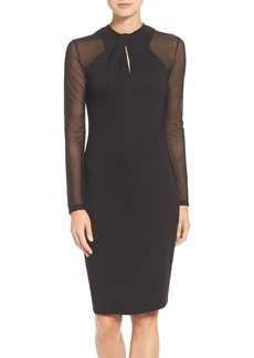 French Connection 'Tania Tuck' Mesh Sleeve Sheath Dress