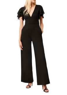 French Connection Tobina Frill Sleeve Ponte Knit Jumpsuit