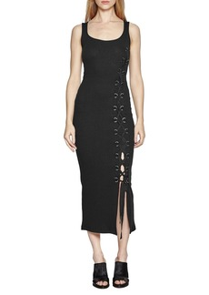 French Connection 'Tommy' Lace-Up Ribbed Midi Dress