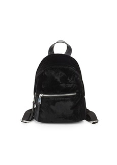 French Connection Top Zip Mini Velvet Backpack