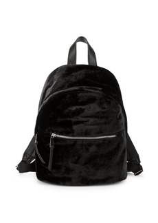 French Connection Top Zip Velvet Backpack