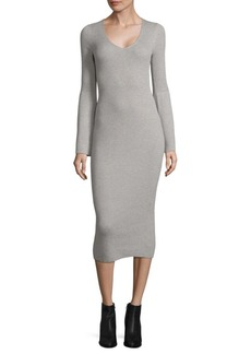 V-Neck Bell-Sleeve Bodycon Dress