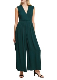 French Connection V-Neck Wide-Leg Pleated Jumpsuit