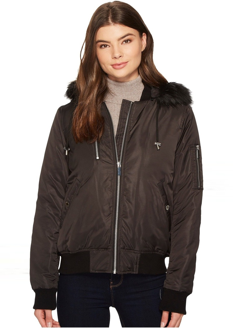 76411db0faf8 French Connection Varsity Bomber w  Faux Fur Hood