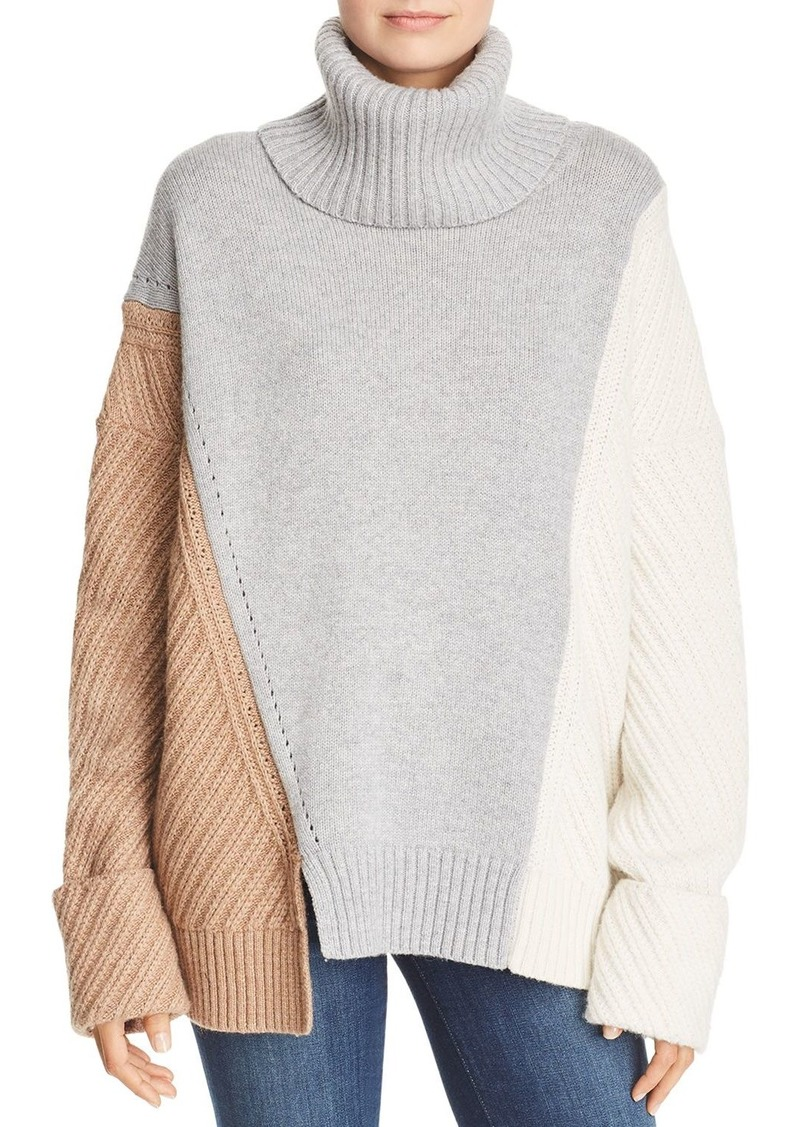 FRENCH CONNECTION Viola Knits Deconstructed Color-Blocked Turtleneck Sweater