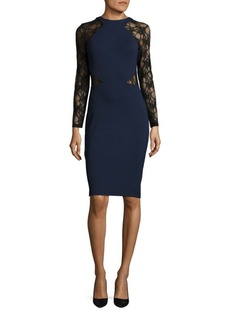 French Connection Viven Lace-Trimmed Bodycon Dress
