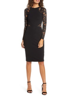 French Connection Viven Long Sleeve Lace Sheath Dress
