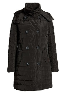 French Connection Water Repellent Double Breasted Hooded Quilted Coat