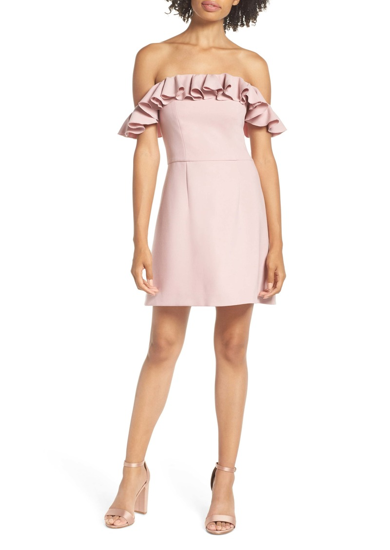 French Connection Whisper Light Off the Shoulder Ruffle Minidress