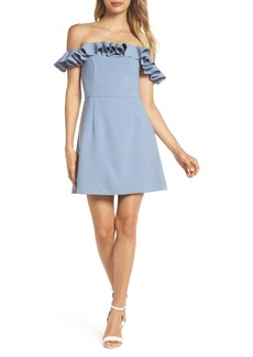 French Connection Whisper Light Off the Shoulder Ruffle Dress