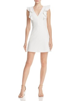 FRENCH CONNECTION Whisper Ruffled V-Neck Mini Dress
