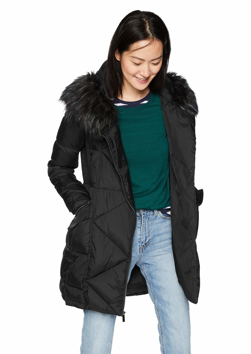 French Connection Women's 3/4 Asymmetrical Oversized Puffer Coat  M