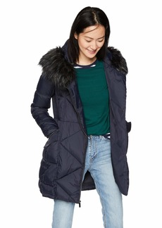 French Connection Women's 3/4 Asymmetrical Oversized Puffer Coat  L