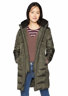 French Connection Women's 3/4 Hooded Puffer with Removable Sweatshirt bib  M