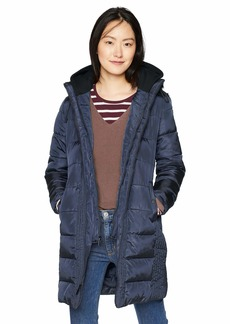 French Connection Women's 3/4 Hooded Puffer with Removable Sweatshirt bib  XL