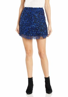 French Connection Women's All Over Sequin Skirt Electric Blue/Black