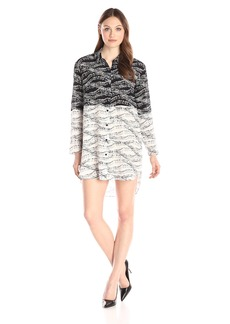 French Connection Women's Anarchy Pin Silk Long Sleeve Shirt Dress