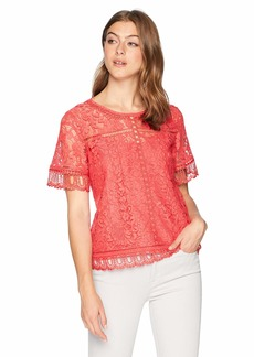 French Connection Women's Arta All Over Lace Short Sleeve Top  L