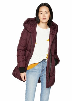French Connection Women's Asymmetrical Hem Coat with Faux Leather Contrast  L
