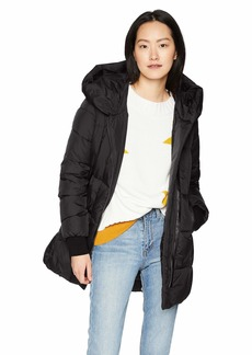 French Connection Women's Asymmetrical Hem Coat with Faux Leather Contrast  M