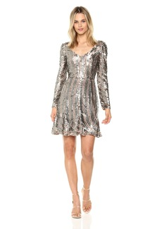 French Connection Women's Aurelie Sequin Long Sleeved Mini Dress