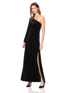 French Connection Women's Aurore Velvet One Shoulder Long Dress