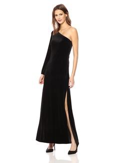 French Connection Women's Aurore Velvet One Shoulder  Long Dress