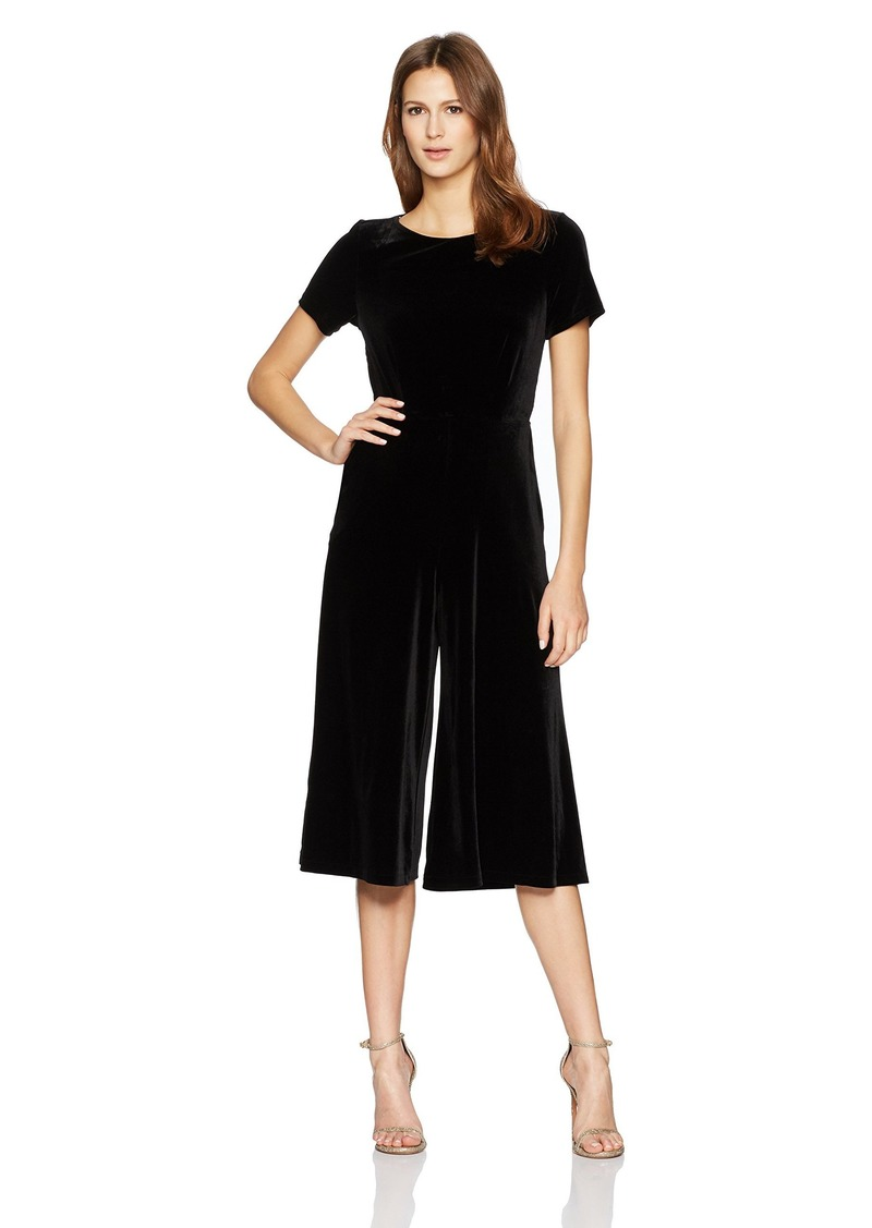 French Connection Women's Aurore Velvet Short Sleeved Flared Leg Jumpsuit